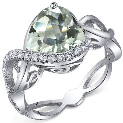 Oravo Swirl Design 4.00 Carats Heart Shape Ring in Sterling Silver - Size: 6 Color: Green Amethyst