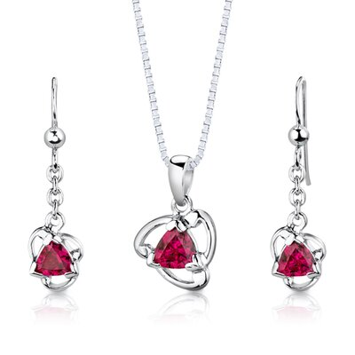 """Oravo Sterling Silver 2.75 CaratsTrillion Cut Ruby Pendant Earrings and 18"""" Necklace Set at Sears.com"""