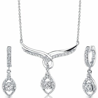 Everlasting Beauty Sterling Silver Bridal Teardrop Necklace Earrings Set with Cubic Zirconia