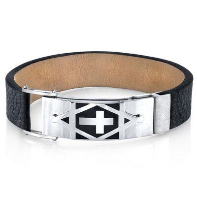 Star of David Black Genuine Leather Men's Steel Bracelet