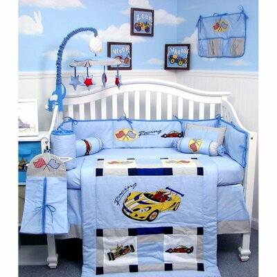 Race  Bedding  Boys on Race Car Zoom Zoom Baby Crib Nursery Bedding Set This