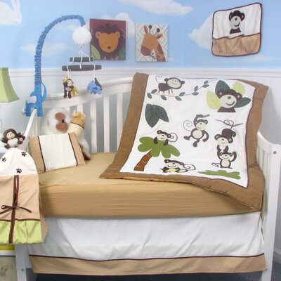 Curious Monkey Baby 14 Piece Crib Nursery Bedding Set