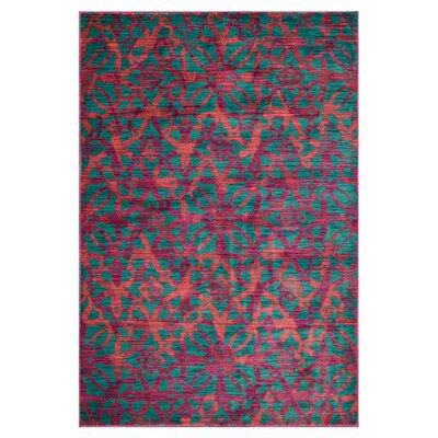 Lyon Blue/Pink Area Rug Rug Size: 39 x 52