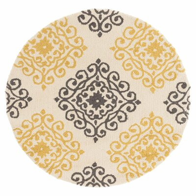Summerton Hand-Hooked Ivory/Gray Area Rug Rug Size: Round 3
