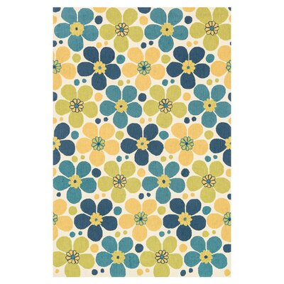 Summerton Hand-Hooked Yellow/Blue Area Rug Rug Size: 23 x 39