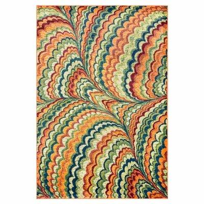 Yanga Blue/Orange Area Rug Rug Size: Rectangle 52 x 77