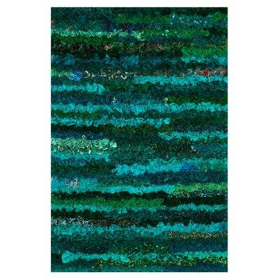 Eliza Shag Hand-Woven Emerald Area Rug Rug Size: 23 x 39