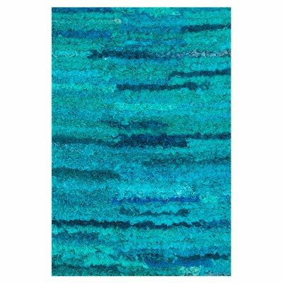 Eliza Shag Hand-Woven Aqua Area Rug Rug Size: 3 x 5
