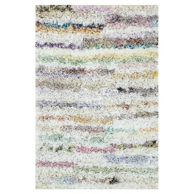 Eliza Shag Hand-Woven White Area Rug Rug Size: 23 x 39