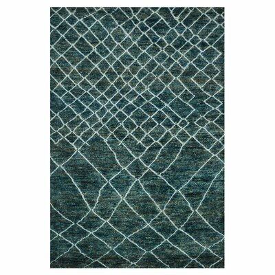 Sahara Mediterranean Hand-Knotted Blue Area Rug Rug Size: 96 x 136