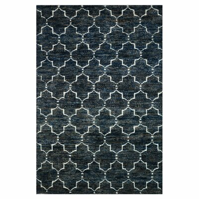 Palumbo Hand-Knotted Dark Blue Area Rug Rug Size: Rectangle 5'6