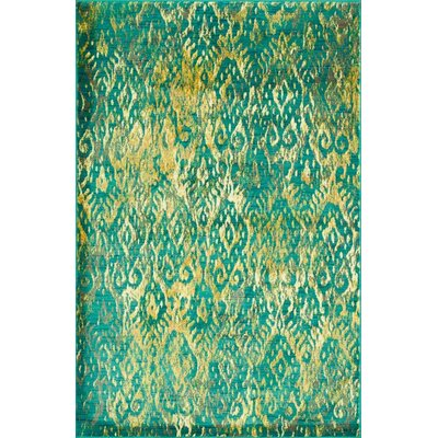 Green/Yellow Area Rug Rug Size: 52 x 77