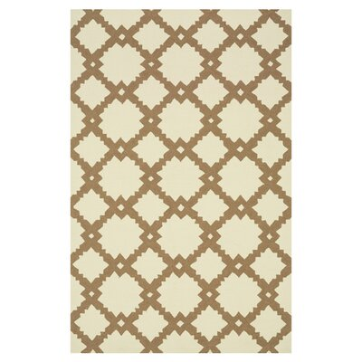 Venice Beach Hand-Hooked Beige/Tan Indoor/Outdoor Area Rug Rug Size: Rectangle 76 x 96