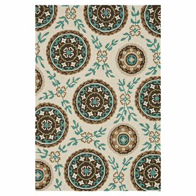 Kirts Hand-Hooked Ivory/Teal Area Rug Rug Size: Rectangle 23 x 39