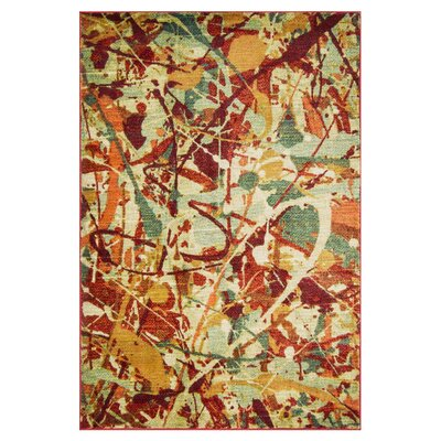 Lyon Orange/Red Area Rug Rug Size: 52 x 77