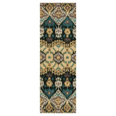 Leyda Hand-Tufted Black/Light Gold Area Rug Rug Size: Runner 26 x 76