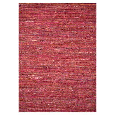 Stella Hand-Hooked Red Area Rug Rug Size: 5 x 76