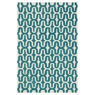 Maziarz Hand-Tufted Blue/Ivory Area Rug Rug Size: Rectangle 79 x 99
