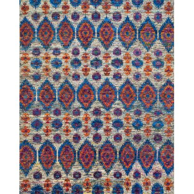 Giselle Hand-Knotted Red/Blue Area Rug Rug Size: 86 x 116