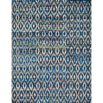 Zaleski Hand-Hooked Blue Area Rug Rug Size: Rectangle 79 x 99