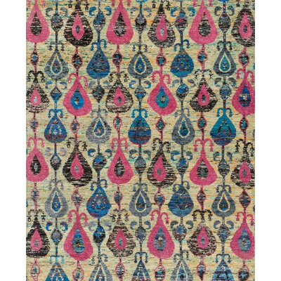 Giselle Hand-Knotted Beige/Pink Area Rug Rug Size: Rectangle 86 x 116