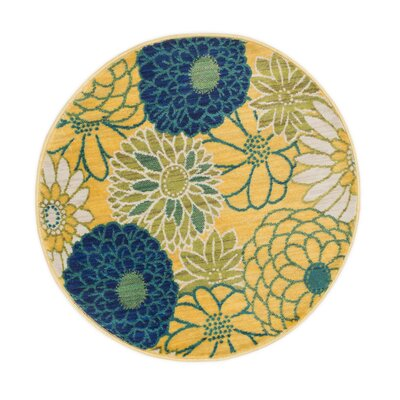 Isabelle Yellow Area Rug Rug Size: Round 3