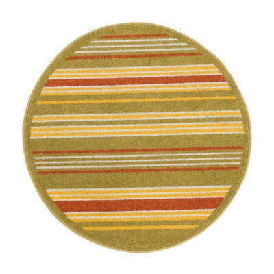 Terrace Green/Yellow Area Rug Rug Size: Round 3