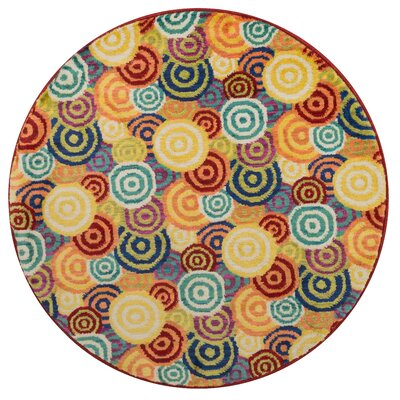 Isabelle Yellow/Blue Area Rug Rug Size: Round 3