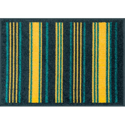 Terrace Yellow/Blue Area Rug Rug Size: Round 3