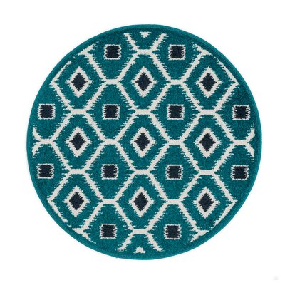 Terrace Teal/Navy Area Rug Rug Size: Round 3