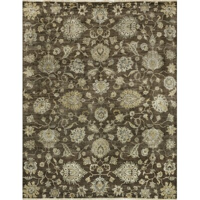 Kensington Hand-Knotted Brown Area Rug Rug Size: 56 x 86