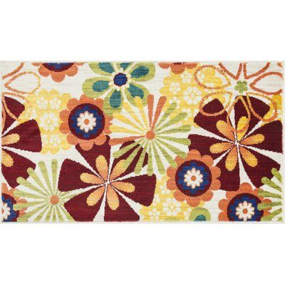 Isabelle Red/Yellow Area Rug Rug Size: Round 3