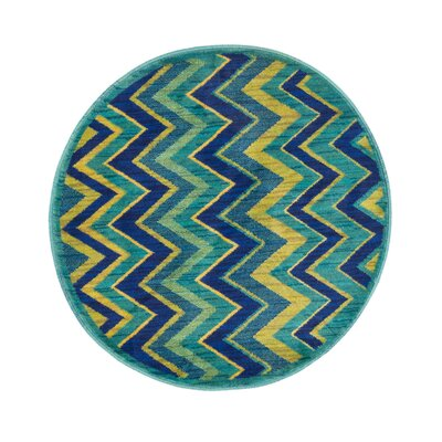 Isabelle Blue/Green Area Rug Rug Size: Round 3
