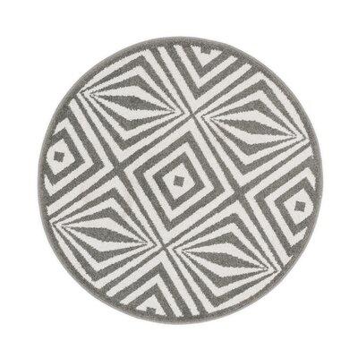 Terrace Ivory/Grey Rug Rug Size: Round 3