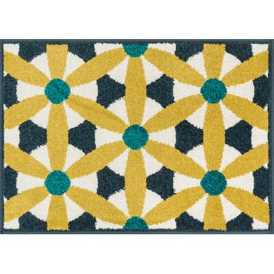 Terrace Yellow/White Area Rug Rug Size: 18 x 26