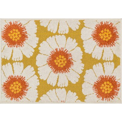 Terrace White/Orange Area Rug Rug Size: Round 3