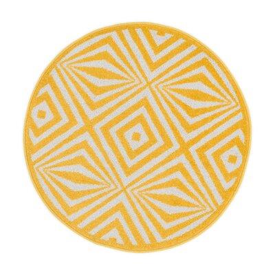 Terrace Ivory/Lemon Area Rug Rug Size: Round 3