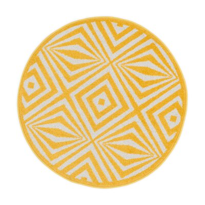 Terrace Ivory/Lemon Area Rug Rug Size: 1'8