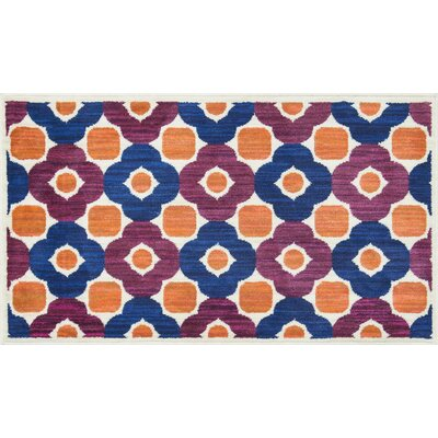 Isabelle Blue/Pink/Orange Area Rug Rug Size: 17 x 26