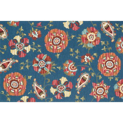 Summerton Hand-Hooked Blue/Red Area Rug Rug Size: 76 x 96