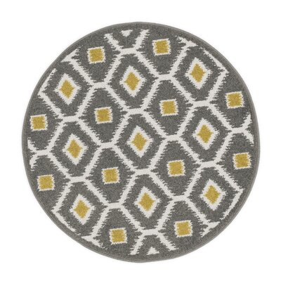 Terrace Gray/Yellow Area Rug Rug Size: Round 3