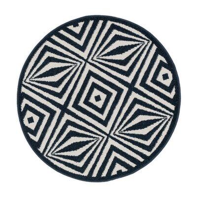 Terrace Ivory/Black Area Rug Rug Size: Round 3