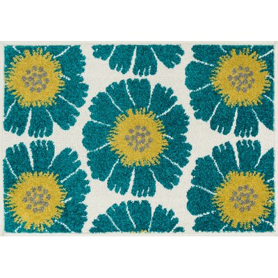 Terrace Ivory/Blue Area Rug Rug Size: 25 x 39