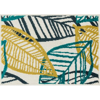 Terrace Green/Yellow Area Rug Rug Size: 25 x 39