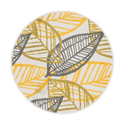 Terrace Ivory/Citron Area Rug Rug Size: Round 3