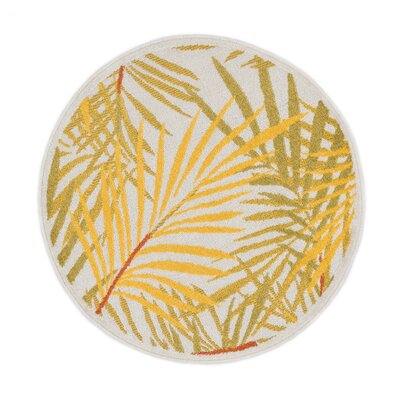 Terrace Ivory/Yellow Area Rug Rug Size: Round 3