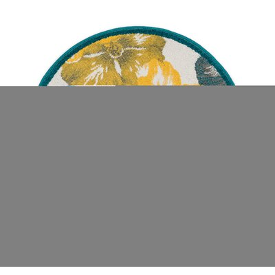 Terrace Blue/Yellow Area Rug Rug Size: Round 3