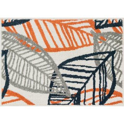 Terrace Ivory/Orange Area Rug Rug Size: 18 x 26