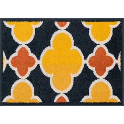 Laudenslager Navy/Lemon Area Rug Rug Size: Rectangle 18 x 5