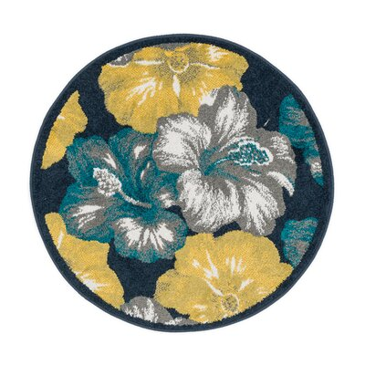 Terrace Navy/Yellow Area Rug Rug Size: Round 3